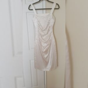 Silky white ruched dress